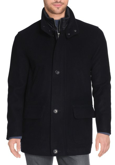 Donkerblauwe wollen mantel