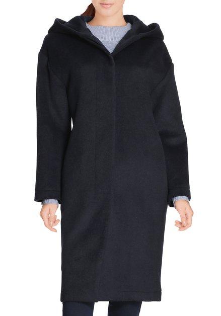 Donkerblauwe wollen mantel met kap