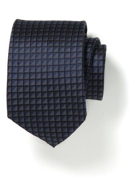 Donkerblauwe zijden das met fijne ruiten