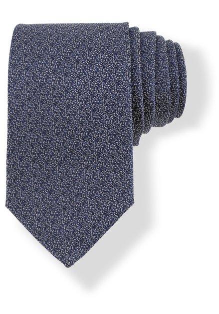 Donkerblauwe zijden das met spikkelmotief