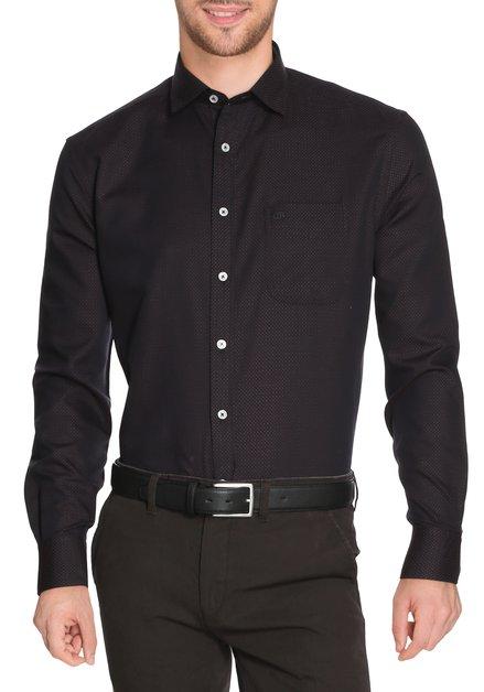 Donkerbruin hemd met miniprint - comfort fit