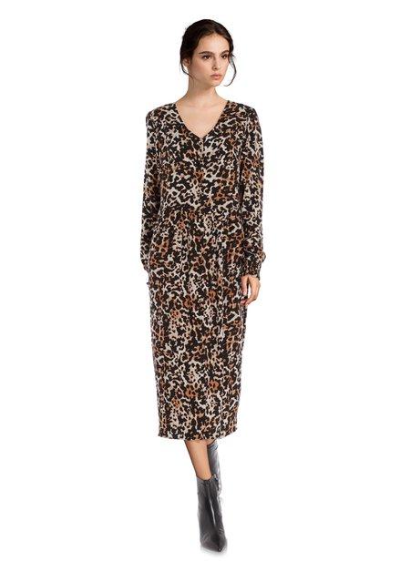 Donkerbruin kleed met panterprint