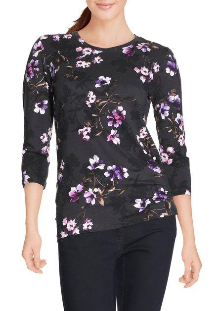 Donkerbruin T-shirt met paarse bloemen