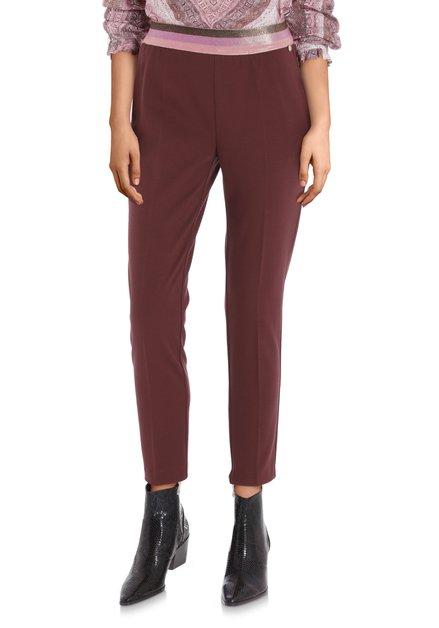 Donkerbruine  broek met roze taille - slim fit