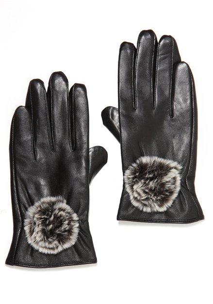 Donkerbruine lederen handschoenen met faux fur