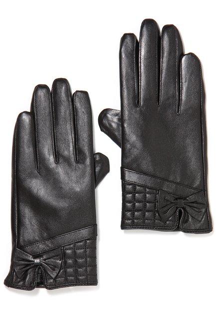 Donkerbruine lederen handschoenen met strikje