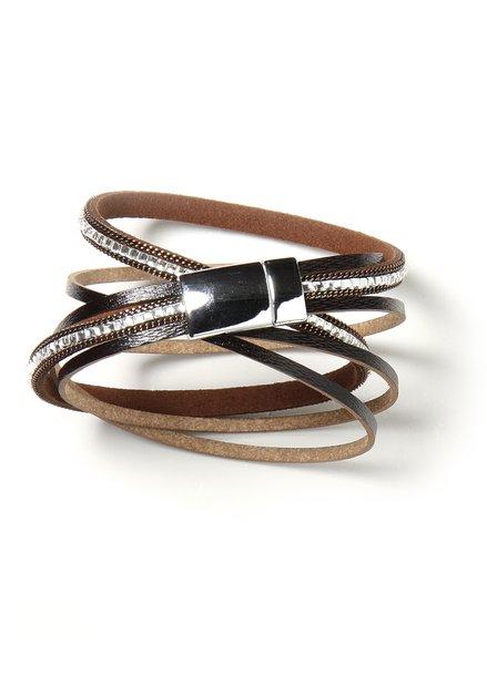 Donkerbruine wikkelarmband