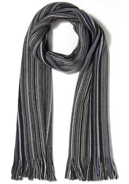 Donkergrijze geribde sjaal