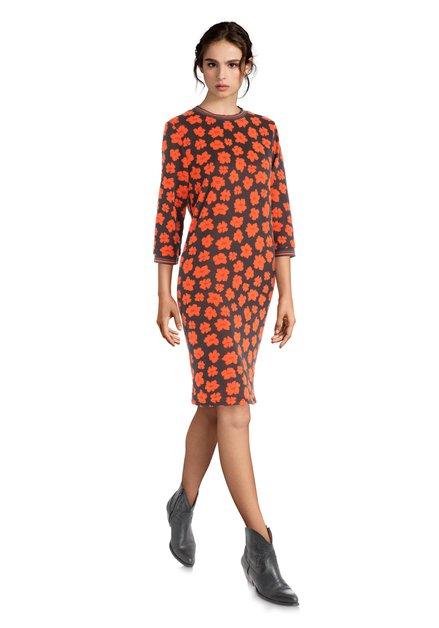 0f463fc3d636cc Donkergrijze jurk met 3/4 mouwen en oranje bloemen