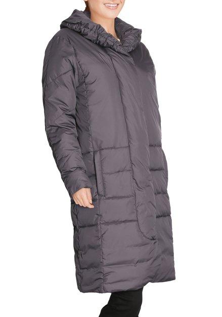 Donkergrijze lange jas met opstaande kraag