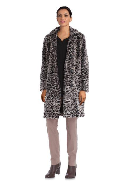 Donkergrijze mantel in fake fur