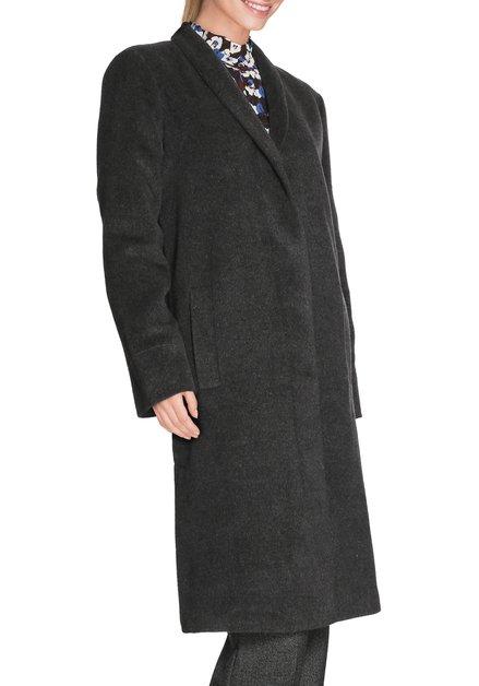 Donkergrijze mantel met verdoken knopenlijst
