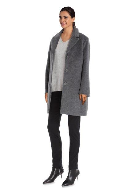 Donkergrijze mantel met wol