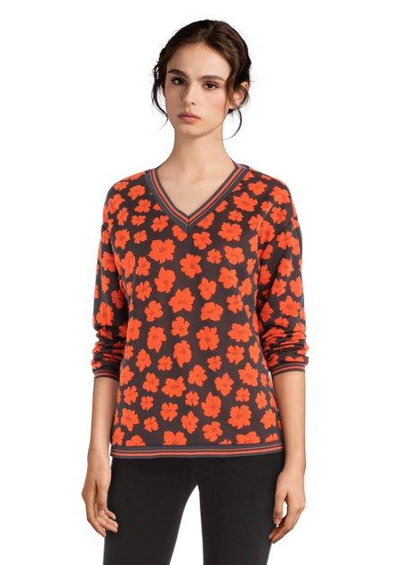 Donkergrijze T-shirt met oranje bloemen