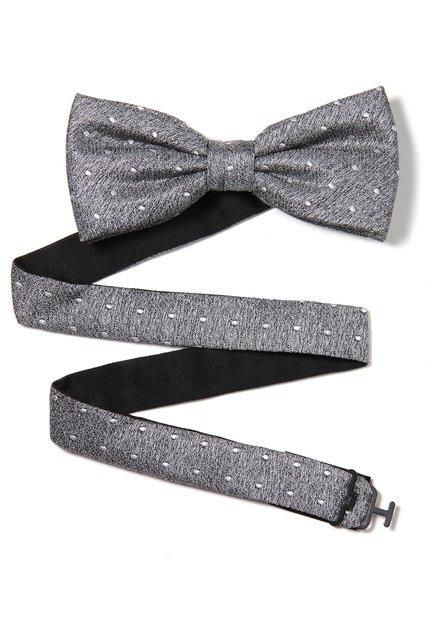 Donkergrijze zijden strikdas met stippen