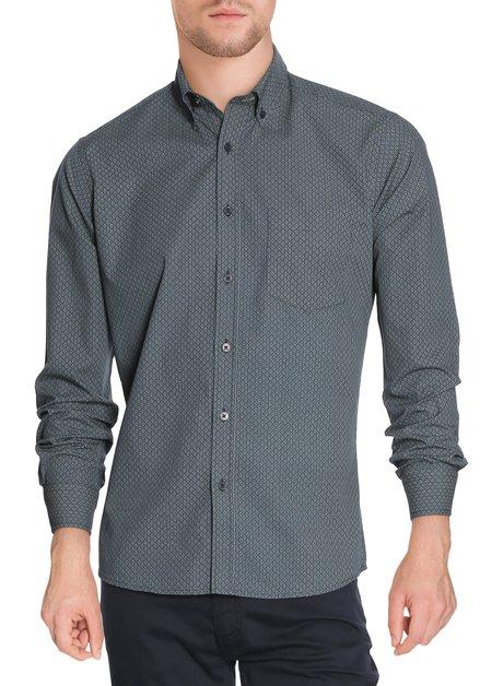 Donkergroen hemd met miniprint - slender fit