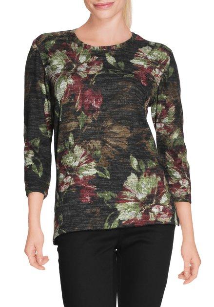 Donkergroen T-shirt met bloemen