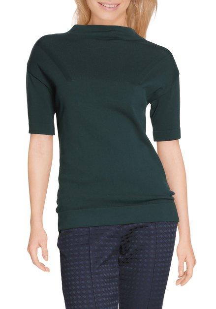 Donkergroen T-shirt met opstaande kraag