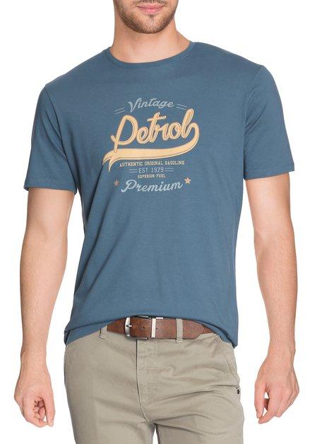 Donkergroen T-shirt met print en ronde hals