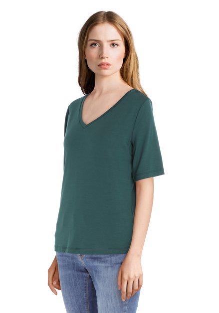 Donkergroen T-shirt met v-hals in modal