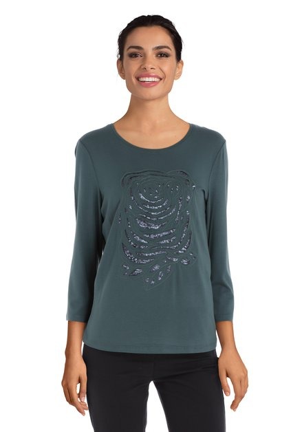 Donkergroen T-shirt met zwarte pailletten