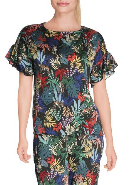 Donkergroene bloes met tropische print