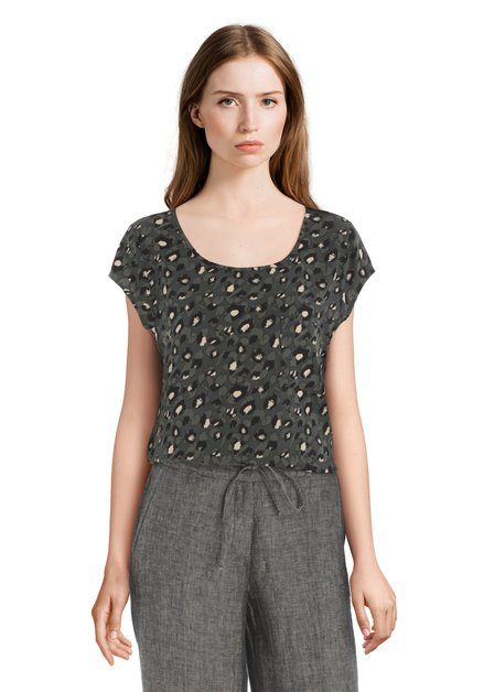 Donkergroene blouse met panterprint