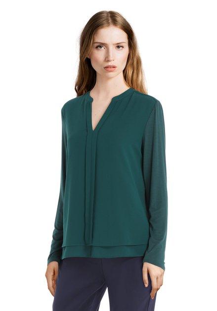 Donkergroene blouse met verticale deelnaad