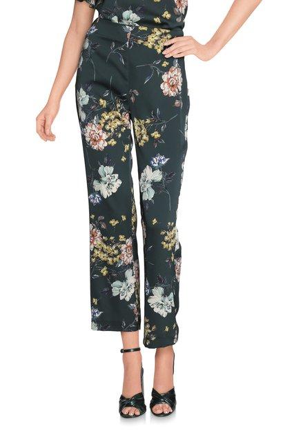 Donkergroene broek met bloemenprint
