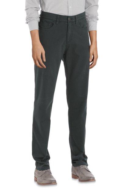 Donkergroene broek met miniprint - regular fit