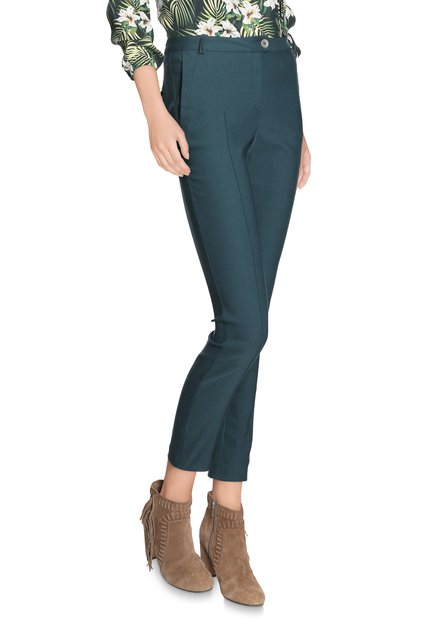 Donkergroene broek met plooi - slim fit