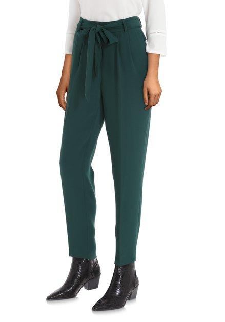 Donkergroene broek met striklint - slim fit