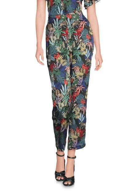 Donkergroene broek met tropische print