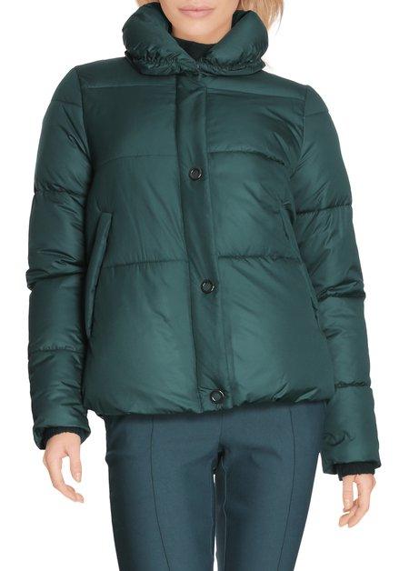 Donkergroene gematelasseerde jas met kraag