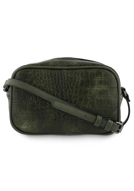 Donkergroene handtas met crocoprint