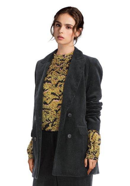 Donkergroene kostuumvest in ribfluweel