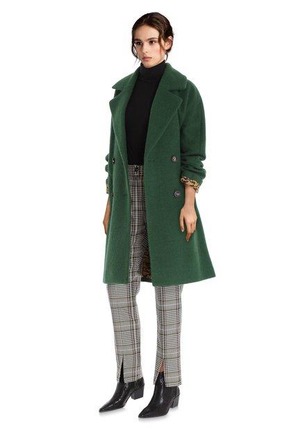 Donkergroene mantel met wol