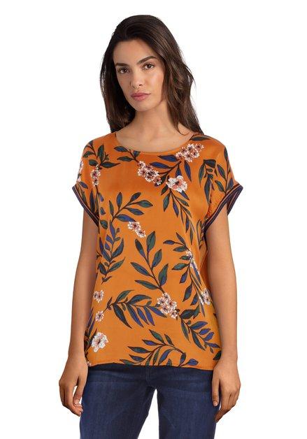 Donkeroranje zijdeachtig T-shirt met bloemen