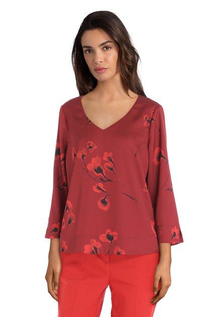 Donkerrode blouse met klaprozen