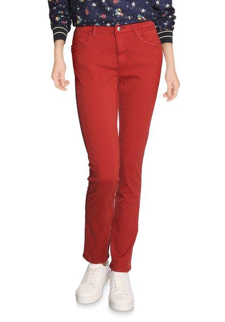 Donkerrode broek in stretchkatoen - slim fit