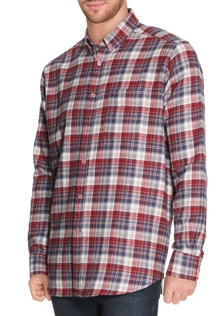 Donkerrood geruit hemd - comfort fit