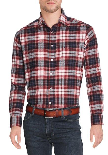 Donkerrood geruit hemd - regular fit