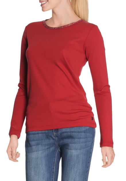 Donkerrood T-shirt met ronde hals in lurex