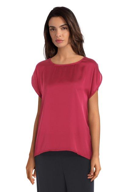 Donkerroze T-shirt met glanzende voorkant