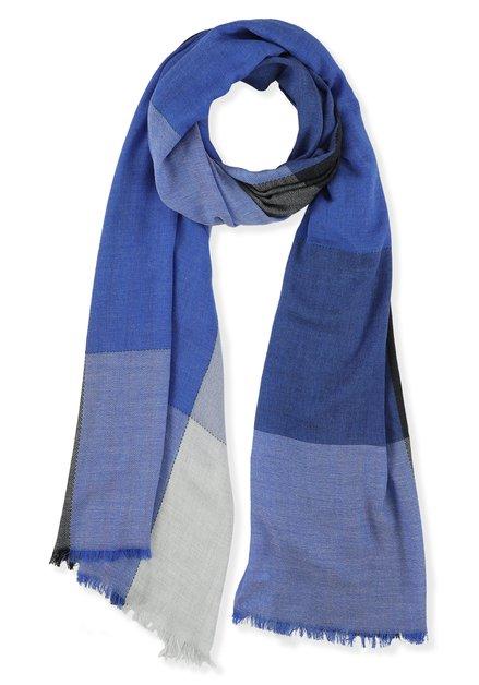 Echarpe à carrés bleus et gris