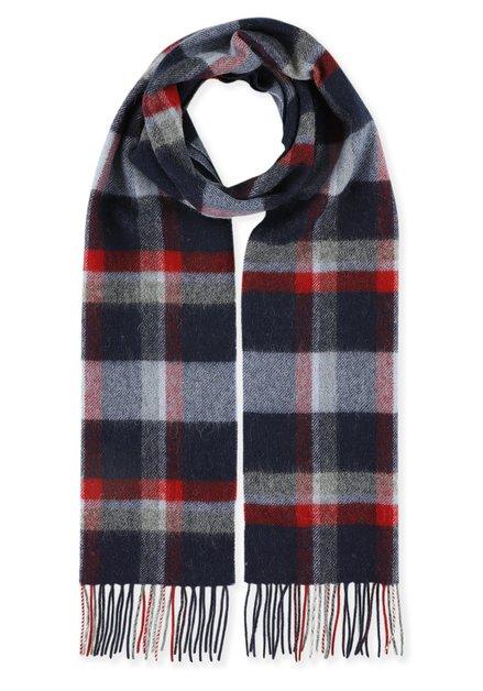 Écharpe bleue à carreaux rouges et gris