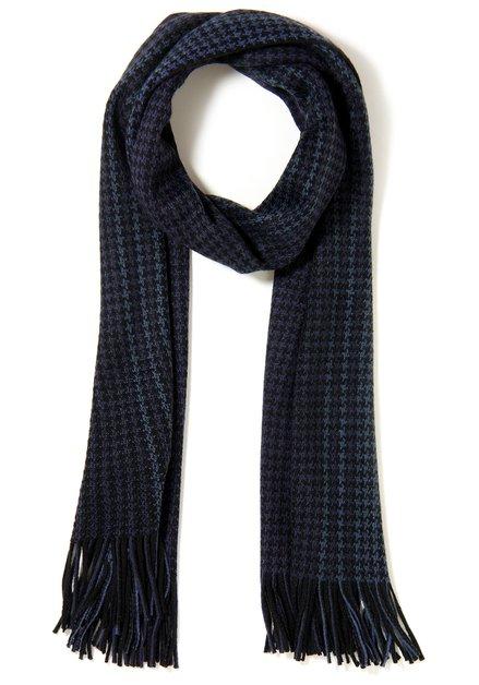 Echarpe bleue avec motif noir