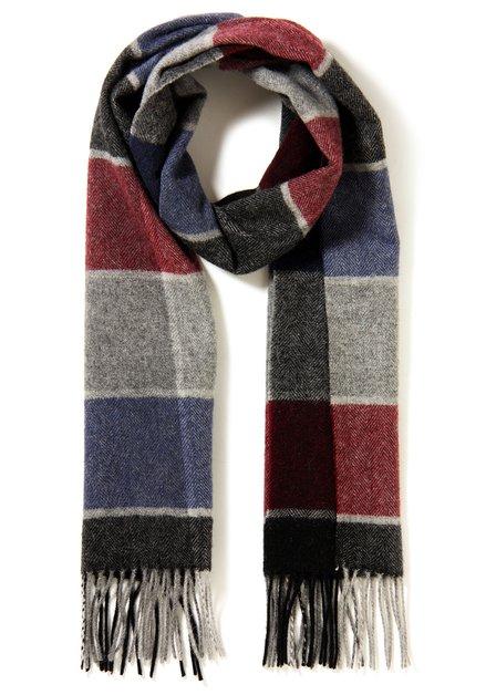 Echarpe bordeaux et bleue en laine