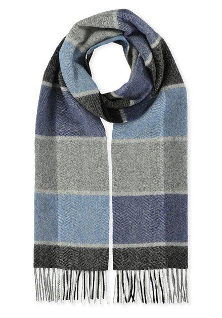 Écharpe grise à carreaux bleus