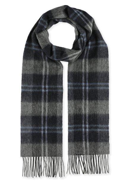 Écharpe grise à carreaux noirs